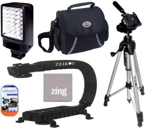 Deluxe 5500K LED Video Light + Video Bracket Action Stabilizing Handle + Soft Medium Camcorder Case + 57 Inch Tripod For Canon Vixia HFM30 HFM31 HFR32 HFM40 HFM41 HFM50 HFM52 HFM301 HFM400 HFM500 Camcorder + More!!