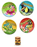 TarHong Margaritaville Snack Plates bundle with Cheeseburger Salt and Pepper Shaker from Enesco