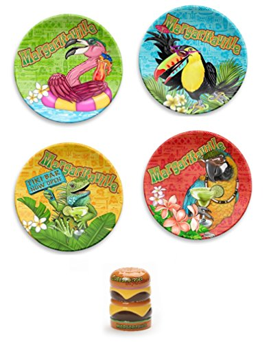 TarHong Margaritaville Snack Plates bundle with Cheeseburger Salt and Pepper Shaker from Enesco by Margaritaville