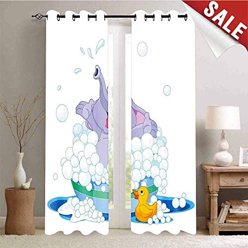 Hengshu Elephant Takes Bubble Bath in Basin with Duck Water Games Wild Animals Theme PrintMulticolor