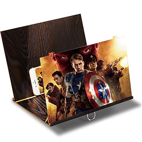 """12"""" Cell Phone Screen Magnifier,Zhaoyun 3D HD Stereoscopic Phone Screen Enlarger Cellphone Movies Video Amplifier with Adjustable Stand Desktop Wood Bracket Phone Projector for All Smartphone/Switch"""