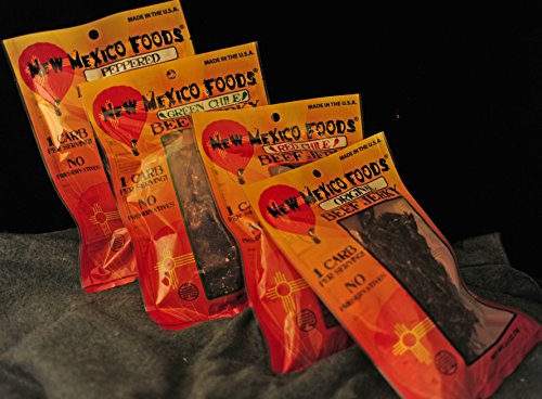 New Mexico Foods Beef Jerky 4 Pack .8 oz. Mixed Package, Red Chile, Green Chile, Peppered, Original (Soy Jerky Peppered)