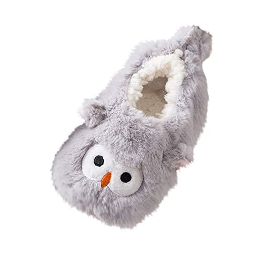 WARMSHOP New Baby Girls Cute Cartoon Slipper for Toddlers Winter Warming Shoes (Gray, 1