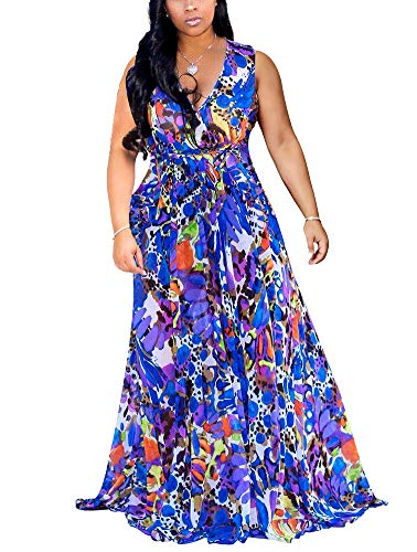 Women's Boho Wrap Maxi Dresses - Elegant Chiffon Belted Floral Long Dresses Belted Large Royal Blue Chiffon