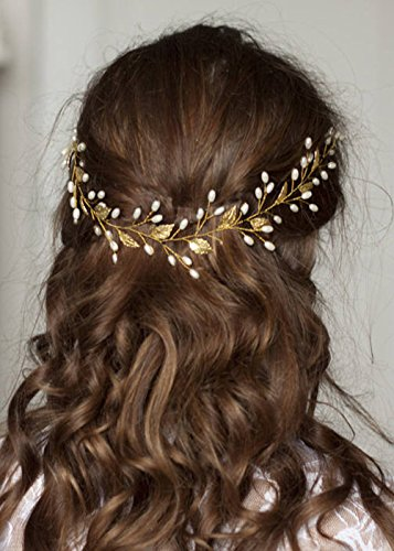 Vintage Bridal Headpieces - FXmimior Wedding Bridal Vintage Leaf Headband Headpiece Tiara Bride Hair Accessories (gold)