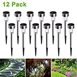 Cynkie Solar Garden Lights Outdoor 12 Pack, LED Solar Powered Pathway Lights, Stainless Steel Landscape Lighting For Lawn, Patio, Yard, Walkway, Driveway