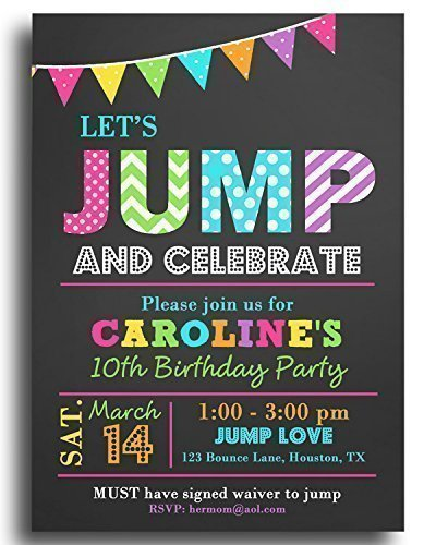 JUMP Party Invitations With ANY Wording Printed Trampoline Bounce Jump Birthday Invitation