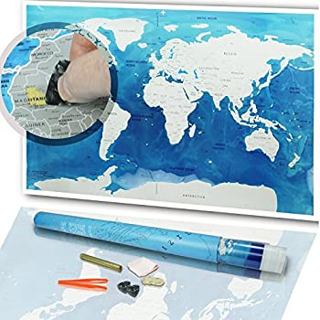 Amazon scratch off world map poster ebook scratcher scratch off world map poster 32 x 23 inch scratchable golden top coat scratchers adhesive dots in a reusable travel tube by jacs gumiabroncs Gallery