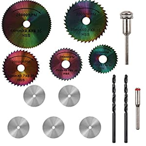 PROMMON 5Pcs HSS Circular Saw Blades Set Colored Saw Blades & 5Pcs Stainless Steel Wood Cutting Wheel Saw Blade Discs & 2Pcs 3mm Twist Drill Bit For Prommon Dremel Rotary Tools Pack Of 12Pcs