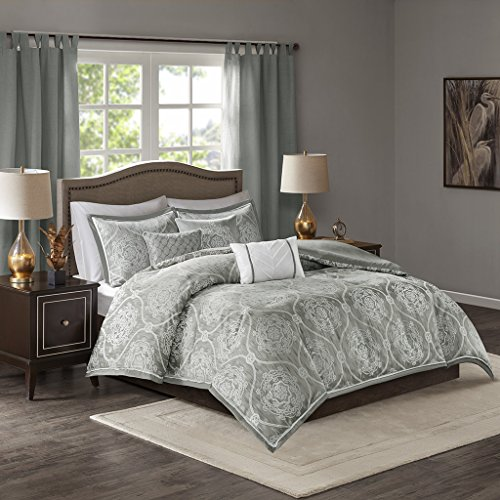 Cover Madison (Madison Park Dora 6 Piece Jacquard Duvet Cover Set Silver King/Cal King)