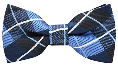 Carahere Boy's Handmade Pre-Tied Patterned Bow Ties (One Size, Blue plaid)