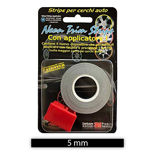 Black 5 mm x 6 mt Refractive Wheel Trim with Applicator Tool for Car Wheels