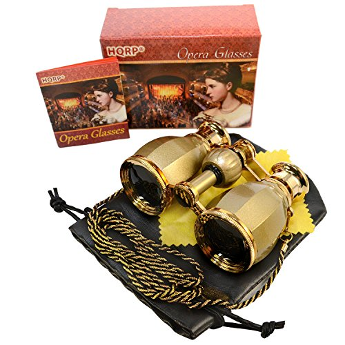 HQRP Antique Style Golden Binoculars w/Crystal Clear Optic (CCO) w/Golden Trim w/Necklace Chain for Races, Opera, Theatres, Circus Show, Open Air Concerts, Fairs, Football Baseball Matches, Parades (Concert Open Air)