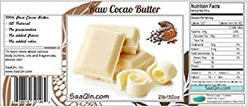 2 Lb Cocoa Butter Pure, Raw, Unprocessed. Incredible Quality and Scent. Use for Lotion, Cream, Lip Balm, Oil, Stick, or Body Butter. NON-GMO By SaaQin