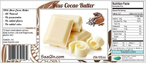 (2 Lb Cocoa Butter: Pure, Raw, Unprocessed. Incredible Quality and Scent. Use for Lotion, Cream, Lip Balm, Oil, Stick, or Body Butter. NON-GMO By SaaQin)