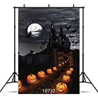 WOLADA Halloween Backdrop 5x7ft Moon Night Castle Pumpkin Lantern Photography Background Studio Props 10732