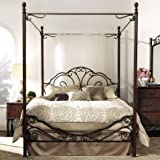 TRIBECCA HOME LeAnn Graceful Scroll Iron Metal Queen-sized Canopy Poster Bed Frame