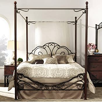 tribecca home leann graceful scroll iron metal queen sized canopy poster bed frame - Poster Bed Frame