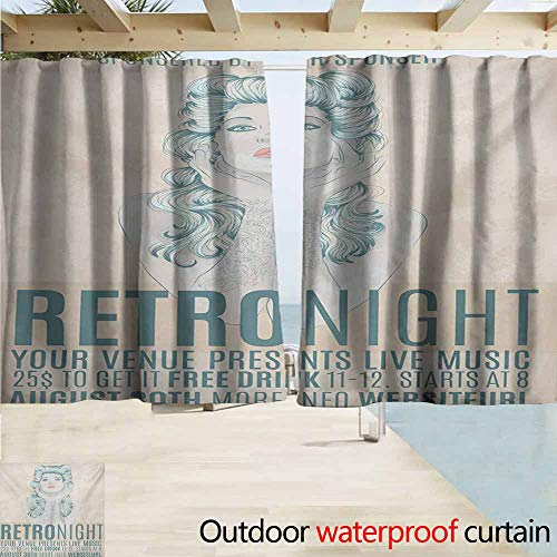 AndyTours Doorway Curtain,Indie Retro Night Theme Poster Design Attractive Woman with Old Fashioned Hair Style,Simple Stylish Waterproof,W72x45L Inches,Tan Slate Blue -