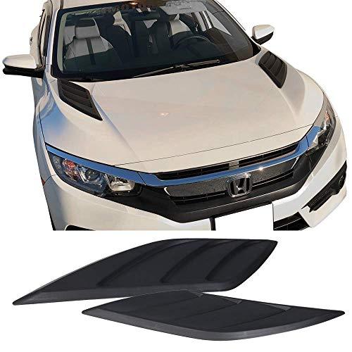 - Fits 16-19 Honda Civic V3 Style Air Flow Vent Hood Vent Scoop Black ABS By IKON MOTORSPORTS