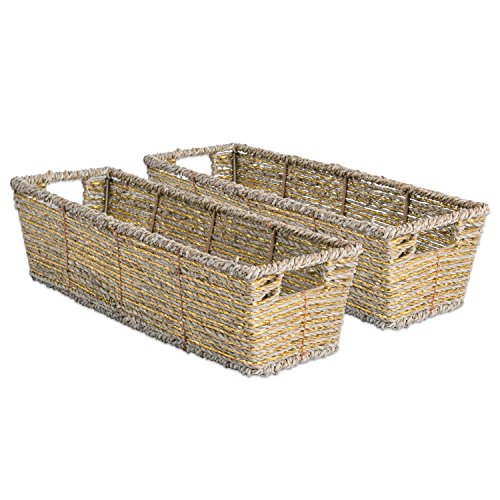 DII Decorative Woven Seagrass Table Basket with Metallic for Bathroom & Home Organization Solutions to Enhance Décor & Add Functionality (Tray 16x5x4
