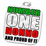 3dRose EvaDane - Quotes - Number One Nonno And Proud Of It Italian Flag - 8x8 Potholder (phl_223830_1)
