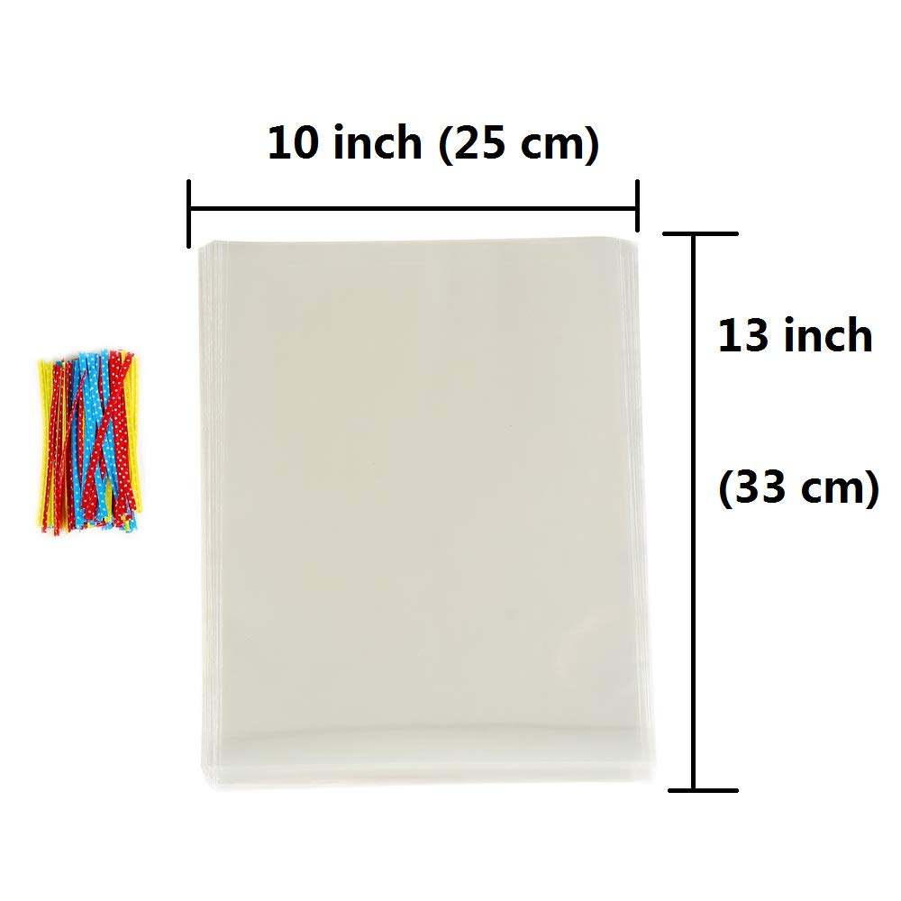 100 Pcs 4 in x 3 in Clear Flat Cello Cellophane Treat Bags Good for Bakery,Popcorn,Cookies,Candies,Dessert 1.4mil.Give Metallic Twist Ties!