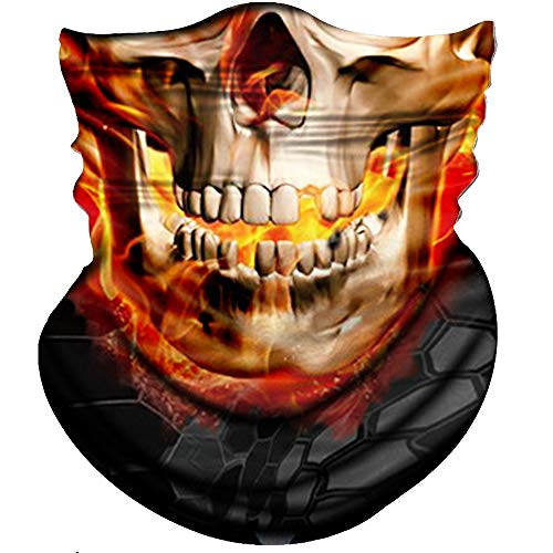 Obacle Skull Face Mask Half Sun Dust Protection, Seamless Tube Mask, Durable Face Mask Bandana Skeleton Face Shield Motorcycle Fishing Hunting Cycling Riding Festival Many Patterns -