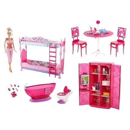 Super Amazon Com Barbie Big Box Furniture Set Super Value Bundle Download Free Architecture Designs Itiscsunscenecom
