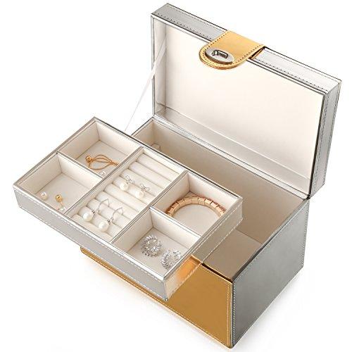 4Queens Jewelry Box Jewelry Case - Jewelry Organizer - Faux Gold Cufflinks