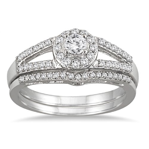 1/2 Carat TW Split Shank Diamond Bridal Set in 10K White Gold -