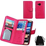 M9 Case, DRUnKQUEEn Wallet PU Leather Flip Card Holder Clutch Purse, 2 in 1 Detachable Magnetic Back Cover for HTC One M9