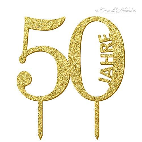 Cake topper 50 Jahre   Tortenstecker, Acryl, gold oder silber, einseitig glitzer   Für Hochzeit oder Geburtstag