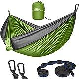 Forbidden Road Hammock Double Camping Portable Parachute Hammock for Outdoor Hiking Travel Backpacking - 210D Nylon Taffeta Hammock Swing - Support 660lbs Ropes (Green & Gray)