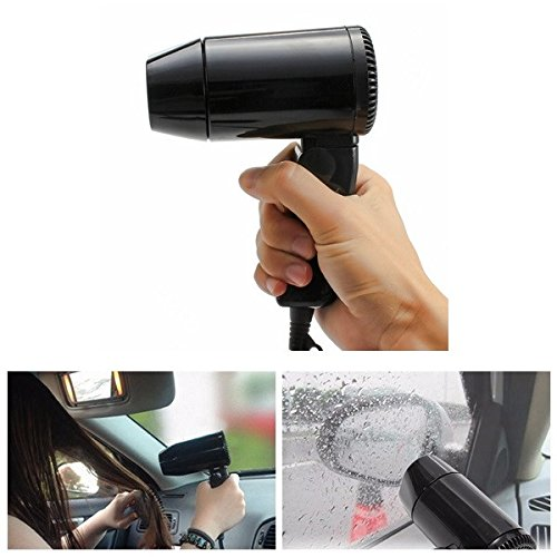FeLiCia 220W 12V Mini Foldable Car Heat Blower Defroster Adjustable Hair Dryer with 2 Speed Control
