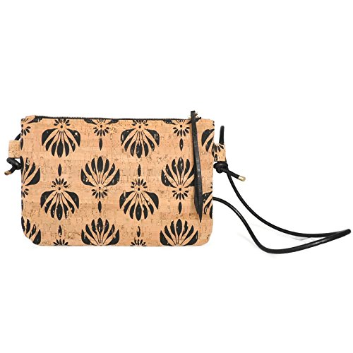 Vegan Cork Crossbody Bag in Black Lotus Print by SPICER BAGS