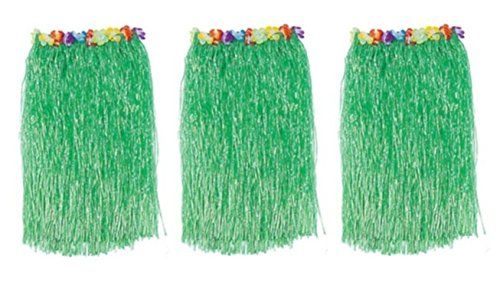 BT-RSTT 1 X Lot 3 Adult Luau Hula Party Skirts-Green w/Floral Waistbands W 28