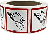 InStockLabels GHS Pictogram Labels Corrosion 2 x 2 Inch Square 500 Adhesive Stickers