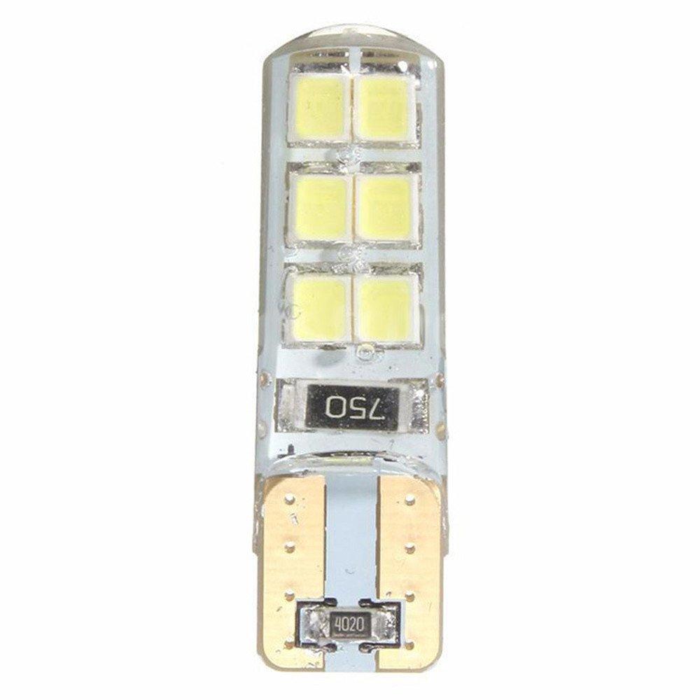 Tuu 10PCS 12LED Car Interior Panel Lamp Car Super Bright License Light 194 W5W COB 2835 SMD 2W (Yellow)