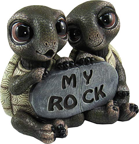"""DWK 5.5"""" Rock Solid Love Adorable Romantic Turtle Couple Best Friends Collectible Two-Piece Figurine Desk Statue for Home and Garden from DWK"""
