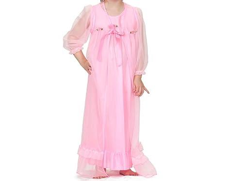 41489393cf Amazon.com  Laura Dare Girls Bright Pink Nightgown   Robe Peignoir ...