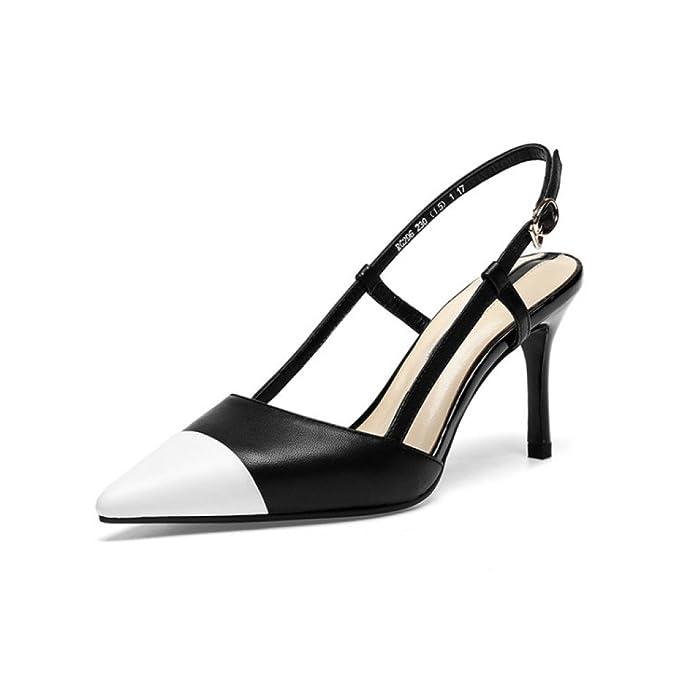 Hope Verano De Las Mujeres En Blanco Y Negro Sandalias De Colores Mezclados Zapatos De Tacón