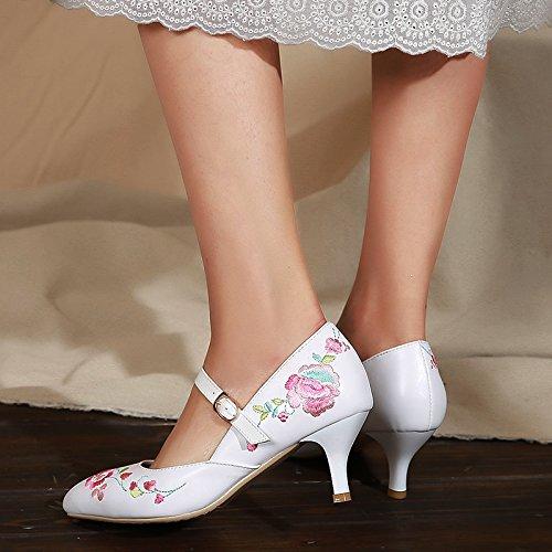 Ajunr Moda/elegante/Transpirable/Sandalias Ajunr Moda/elegante/Transpirable/Sandalias Cheongsam T zapatos de mujer bordados 6 cm de tacon alto zapatos mujeres finos tacones Sharp cabezas confort Natio white