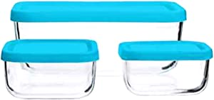Bormioli Rocco Glass Food Storage Container Set of Three (3) - Teal Covers