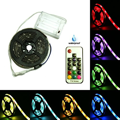 Battery Powered LED Strip Lights, 17-Keys Remote Controlled, DIY Indoor and Outdoor Decoration, 6.56ft Waterproof - Led Battery Strip Light