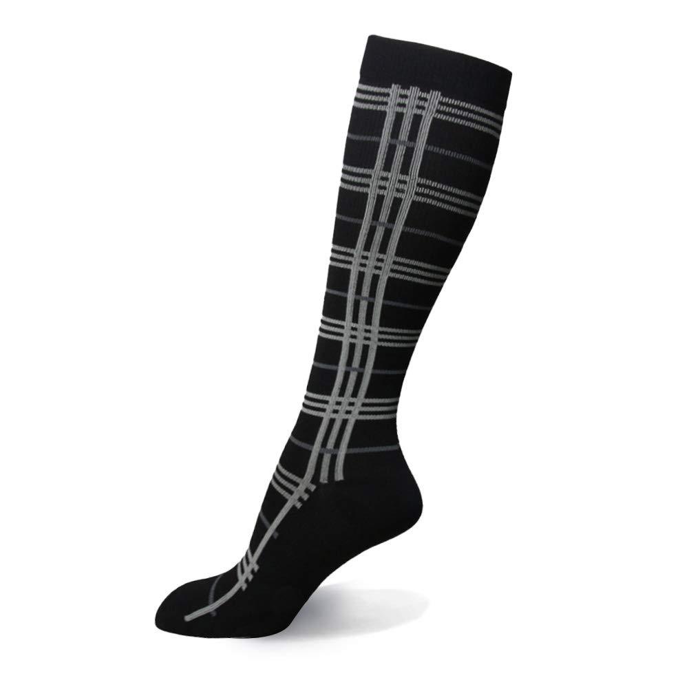 卒業圧縮ソックス20 – 30 mmHg – 中程度レディース&メンズの圧縮ストッキングfor Running、クロスフィット、travel- Suits、看護師、妊娠、脛骨過労性骨膜炎 B07L1M8KLH Large / X-Large|1 Pair Black Grid Stripe 1 Pair Black Grid Stripe Large / X-Large, ビタミンガーデン cf39db8c