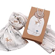 Zeroyoyo Cute Animal Pattern Cotton Muslin Square Musy Swaddles Baby Blanket Sleeping Blanket 110115cm Baby Shower Gift (Brown deer)