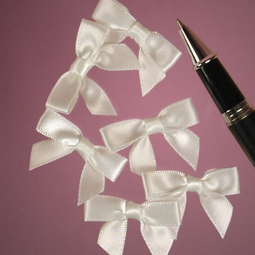 Mini White Satin Bows - 1 3/8 x 1 - 50 Pack