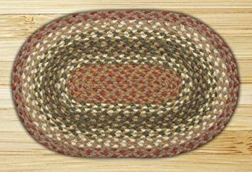Earth Rugs MS 024 Oval Swatch, 10 X 15u0026quot;, Olive/Burgundy