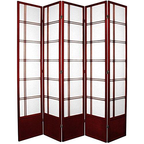 Oriental Furniture 7 ft. Tall Double Cross Shoji Screen - Rosewood - 5 Panels
